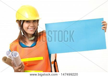 foreman holding blank paper on white background
