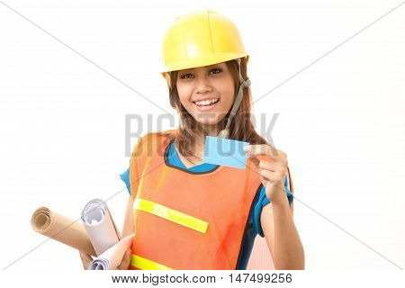 foreman woman holding card on white background