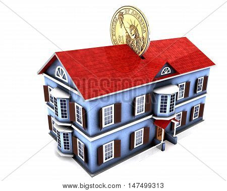 3d illustration of money box house with dollar coin