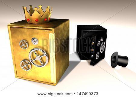 3d illustration of golden and black safes
