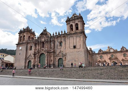 CUSCO PERU - August 31 2016: View of Cusco Cathedral in Cusco Peru on August 31 2016. In 1983 Cusco was declared a World Heritage Site by UNESCO.