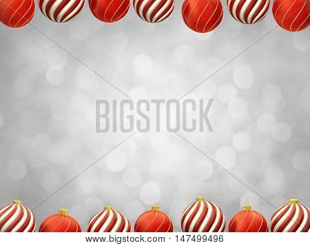Christmas decoration baubles frame on white defocused background center copyspace , 3d illustration