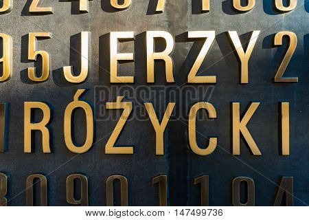Poznan POLAND - September 06 2016: Monument of Polish cryptologists (Enigma Codebrakers)breaking the Enigma cipher during World War II