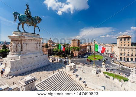 ROME, ITALY - September  13, 2016: View on The National Monument to Victor Emmanuel II or Il Vittoriano (Altare della Patria) first king of a unified Italy in Rome in Piazza Venezia