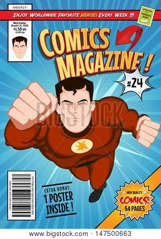 Illustration of a cartoon editable comic book cover template with super hero character flying titles and subtitles to customize and wrong bar code and label