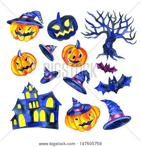 Watercolor Halloween objects collection hand drawn set