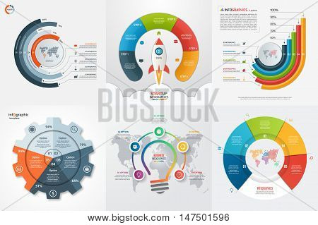 Set Of Six Infographic 5 Options, Steps, Parts, Processes Templates. Business Concept For Graphs, Ch
