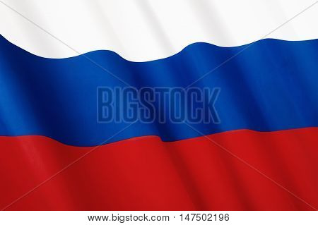 Flag of Russia. Close-up flag of Russian Federation