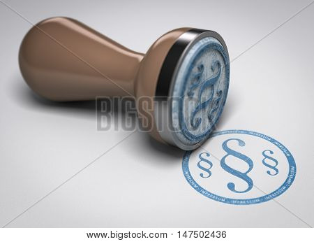 3D illustration of a rubber stamp over paper background with the symbol of german legal protection impressum.