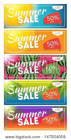 Summer Sale end of Season Banner. Business Discount Card Template Set. Vector Illustration EPS10