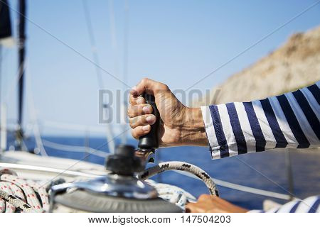Man In Action Of Pulling Rope