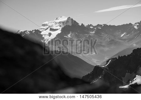 Black and white detail of Grand Combin one of the tallest peaks in the Swiss alps.