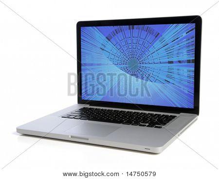 Laptop-Computer, die gegenüber dem weißen Hintergrund isoliert