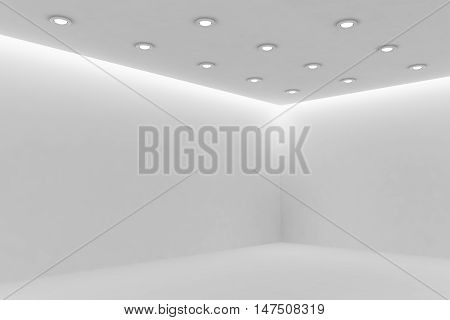 Abstract architecture white room interior - corner of empty white room with white wall white floor white ceiling with small round ceiling lamps and hidden ceiling lights and empty space 3d illustration