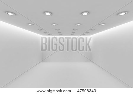 Abstract architecture white room interior - empty white room with white wall white floor white ceiling with small round ceiling lamps and hidden ceiling lights perspective view 3d illustration