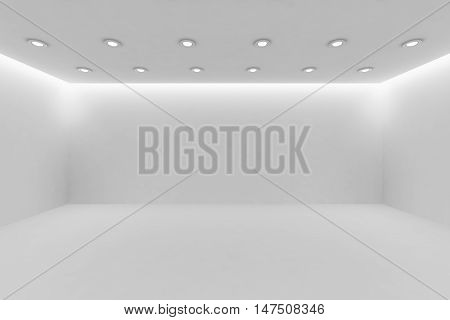 Abstract architecture white room interior - wide empty white room with white wall white floor white ceiling with small round ceiling lamps and hidden ceiling lights and empty space 3d illustration