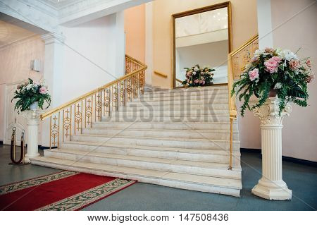 Beautiful modern loft, staircase view. in house