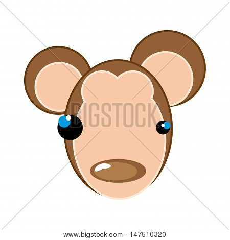 monkey face with brown nose. animal cartoon. vector illustration