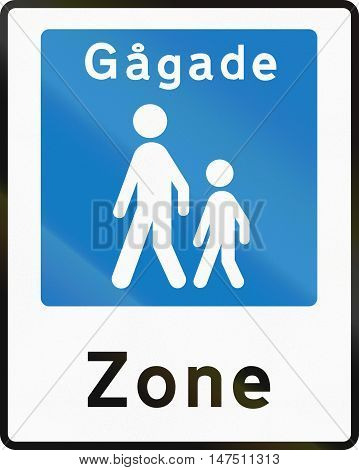 Road Sign Used In Denmark - Pedestrian Zone