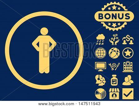 Akimbo icon with bonus pictogram. Vector illustration style is flat iconic symbols, yellow color, blue background.