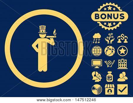 American Capitalist icon with bonus symbols. Vector illustration style is flat iconic symbols, yellow color, blue background.