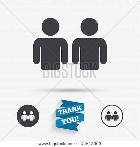 Friends sign icon. Social media symbol. Flat icons. Buttons with icons. Thank you ribbon. Vector