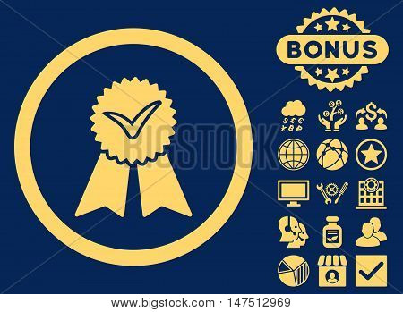 Approvement Seal icon with bonus symbols. Vector illustration style is flat iconic symbols, yellow color, blue background.