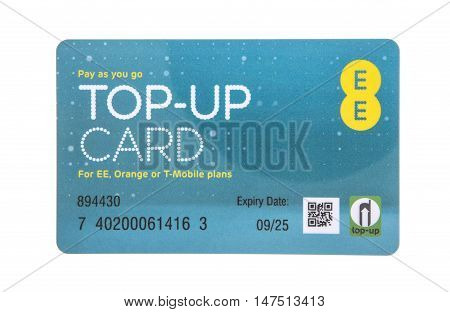 SWINDON UK - SEPTEMBER 10 2016: EE Pay as you go top-up card for EE Orange or T-Mobile Services