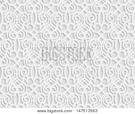 Seamless arabic geometric pattern 3D white pattern indian ornament persian motif vector. Endless texture can be used for wallpaper pattern fills web page background surface textures.