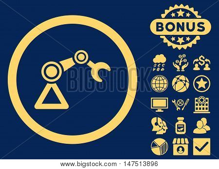 Artificial Manipulator icon with bonus images. Vector illustration style is flat iconic symbols, yellow color, blue background.