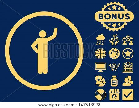 Assurance icon with bonus design elements. Vector illustration style is flat iconic symbols, yellow color, blue background.