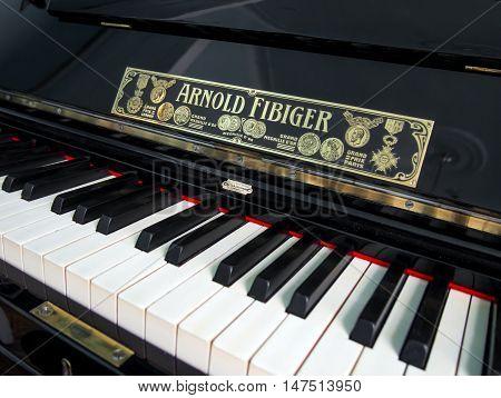 Alushta, Russia - June 08, 2016: Antique piano manufactured