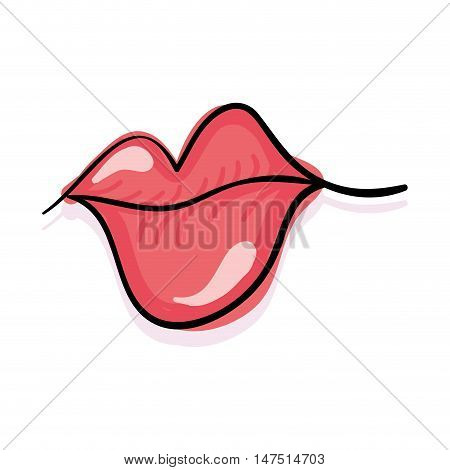 pink mouth. glossy lips with sensuality expression. vector illustration