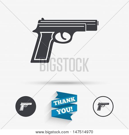 Gun sign icon. Firearms weapon symbol. Flat icons. Buttons with icons. Thank you ribbon. Vector