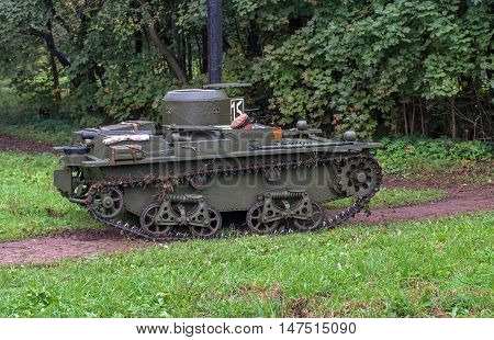 Gatchina, Russia - September 11, 2016: The historical reconstruction of World War II. Lightweight floating tank T-37A. Tank ready to fight.