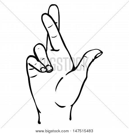Vector Line Art Fingers Crossed