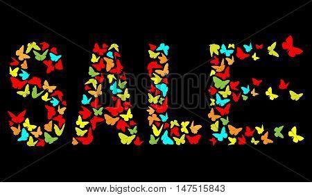 decorative inscription SALE With multi coloured Butterflies