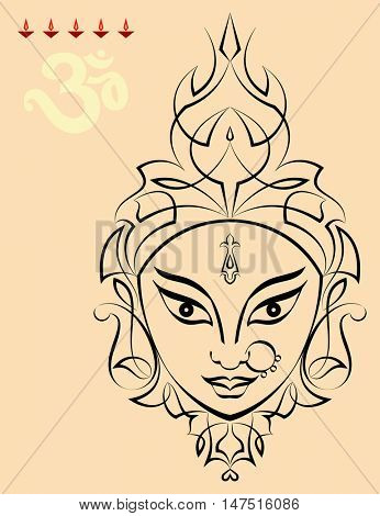 Durga Goddess of Power Vector Illustration