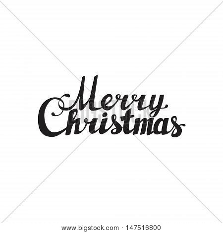 Holidays hand lettering words merry christmas caligraphy on white background