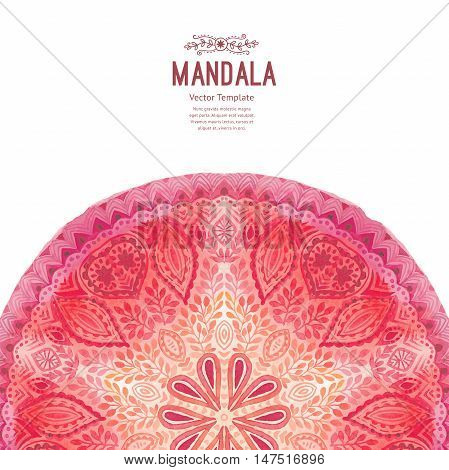 Watercolor mandala half circle. Decor for your design, lace ornament in form of round corner in oriental style.