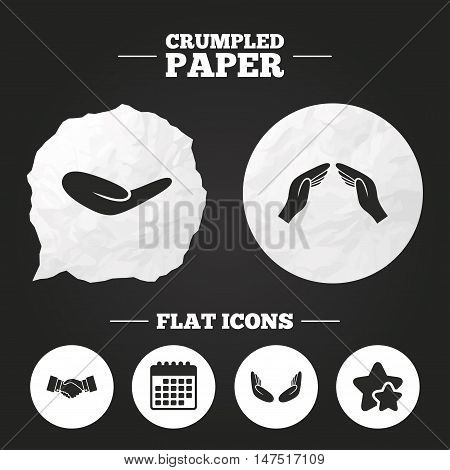 Crumpled paper speech bubble. Hand icons. Handshake successful business symbol. Insurance protection sign. Human helping donation hand. Prayer meditation hands. Paper button. Vector