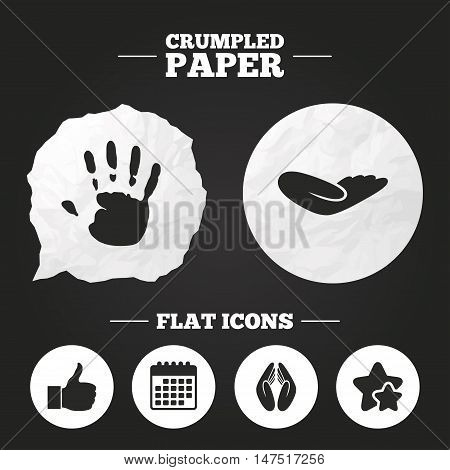 Crumpled paper speech bubble. Hand icons. Like thumb up symbol. Insurance protection sign. Human helping donation hand. Prayer hands. Paper button. Vector