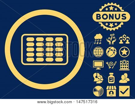 Blister icon with bonus pictures. Vector illustration style is flat iconic symbols, yellow color, blue background.