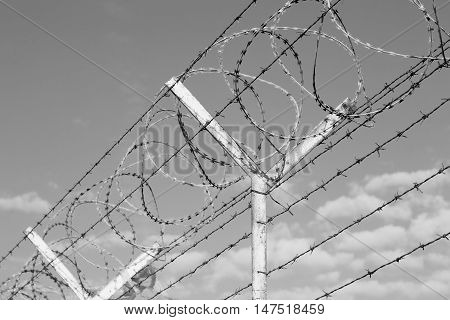 In Oman Barbwire In The Background And Cloudy Sky