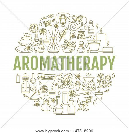 Aromatherapy and essential oils brochure template. Vector line illustration of aromatherapy diffuser oil burner spa candles incense sticks herbal bag massage. Aromatherapy poster
