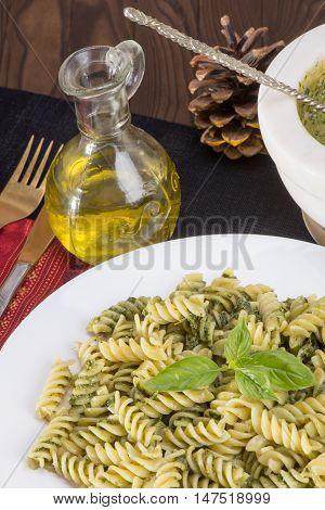 Pasta Fusili With Pesto Sauce