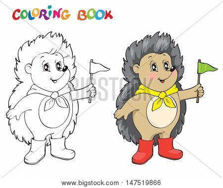 Coloring book or page wiht fanny Hedgehog.