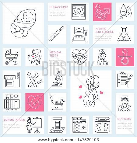 Medical vector line icon of pregnancy and obstetrics. Gynecology elements - chair tests doctor sonogram baby pregnancy gadgets. Obstetrics design element for sites hospitals clinics.