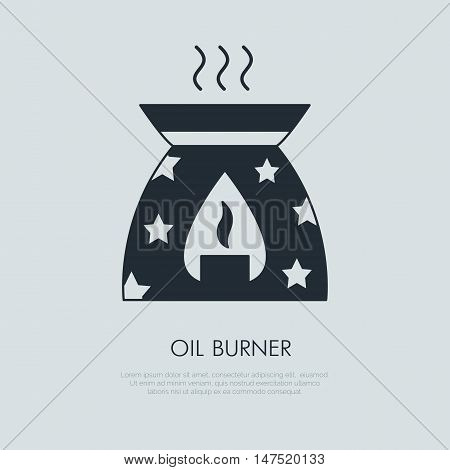 Modern vector icon of oil burner. Essential oils shop linear logo. Cute symbol for aromatherapy store. Elements - oil candle smoke aroma. Oil burner simple silhouette for spa salon.
