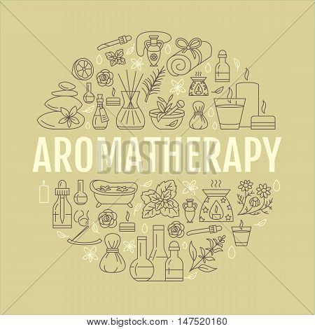 Aromatherapy and essential oils circle template. Vector line illustration of aromatherapy diffuser oil burner spa candles incense sticks herbal bag massage. Essential oils poster